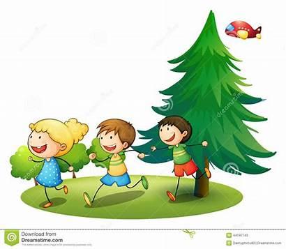 Running Children Outside Illustration Vector