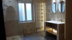realisations sanitaire With carrelage adhesif salle de bain avec culture a led