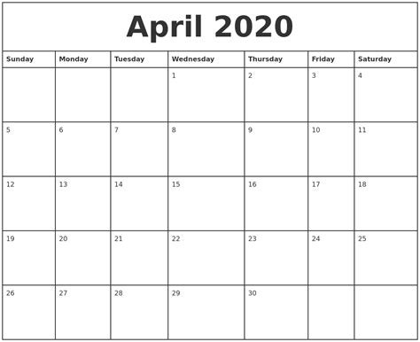 april printable monthly calendar