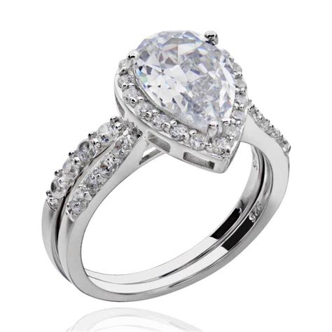 sterling silver pear shape cubic zirconia engagement wedding ring ebay