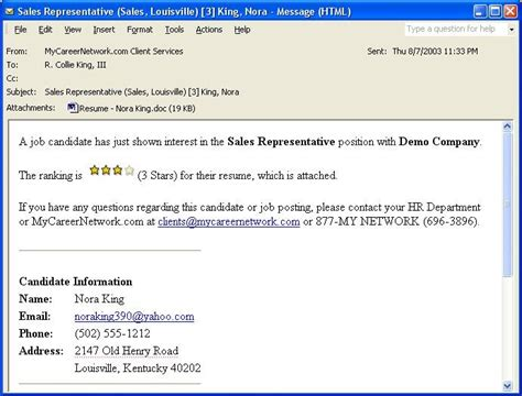 How To Write An Email Forwarding A Resume by Sle Email