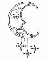 Moon Coloring Stars Sun Bathroom sketch template