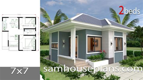 House Plans 7x7 with 2 Bedrooms full plans YouTube