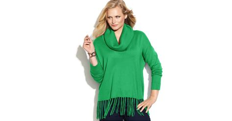 Michael Kors Michael Plus Size Cowl-neck Fringe Sweater In Green