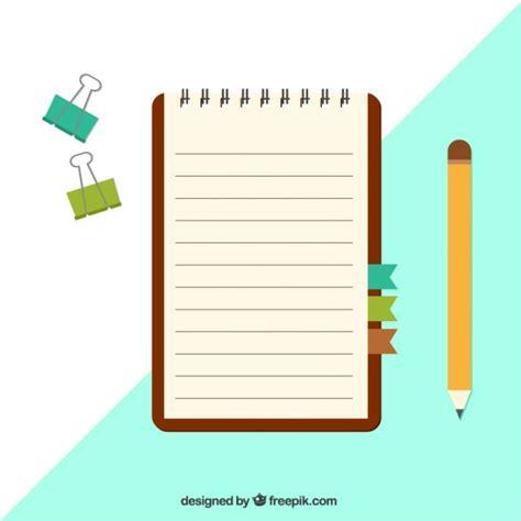 notebook  clips  pencil  flat design vector