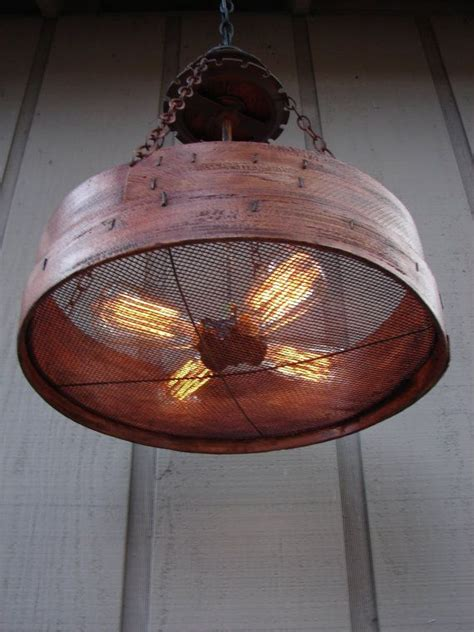 Farm Lighting by Rustic Hanging Light Upcycled Vintage Farm Sieve Rustic
