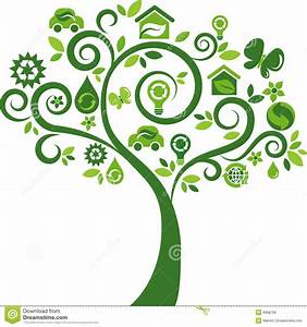 Green Tree With Many Ecology Icons Stock Vector - Image ...