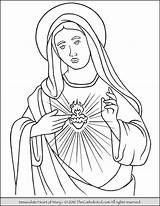Mary Coloring Virgin Heart Immaculate Pages Catholic Sacred Mother Blessed Sheets Jesus Lady Printable Thecatholickid Teresa Children Rosary Adult Colouring sketch template