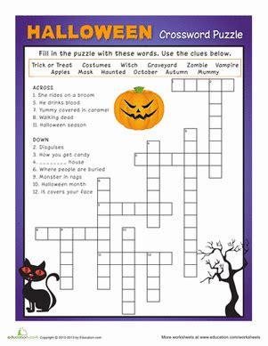 halloween crossword puzzle   images halloween