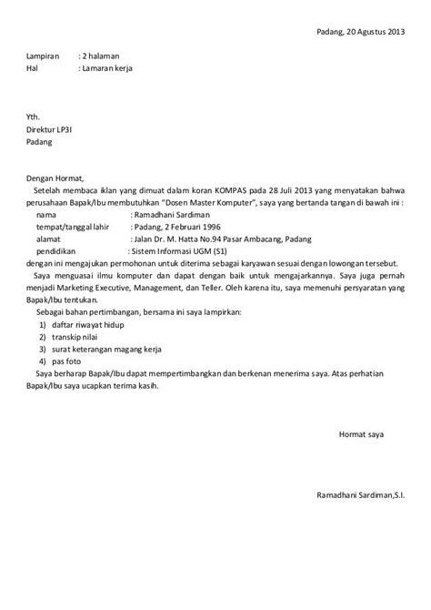 10 contoh surat lamaran kerja indonesia contoh lamaran kerja dan cv indonesia