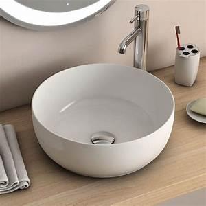 vasque a poser ronde blanche 385 cm ceramique pure fine With salle de bain design avec vasque a poser ronde blanche