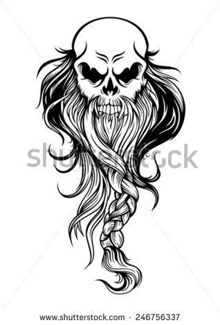 the old wise skull head with long beard | Viking skull art