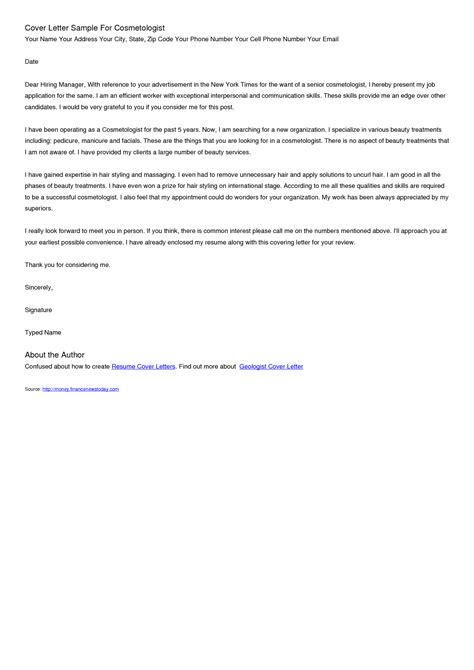 Sle Resume Editable by Cosmetologist Cover Letter Prepossessing Editable Cover