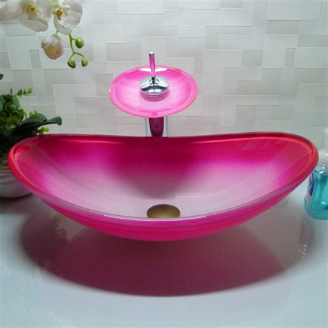 pink kitchen sink oval bathroom tempered glass pink counter top wash basin 1501