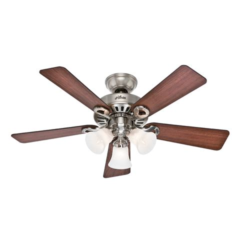 44 ceiling fan with light shop hunter ridgefield ii 44 in brushed nickel indoor