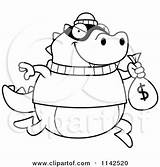 Bank Lizard Robbing Cartoon Coloring Clipart Cory Thoman Outlined Vector 2021 sketch template