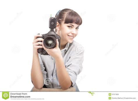 photographer woman holding dslr camera stock photo image