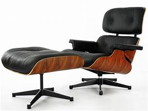 Fauteuil lounge eames en cuir noir discount design for Fauteuil design bois et cuir
