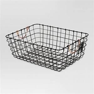 Antique Pewter Decorative Wire Basket - Black - Threshold