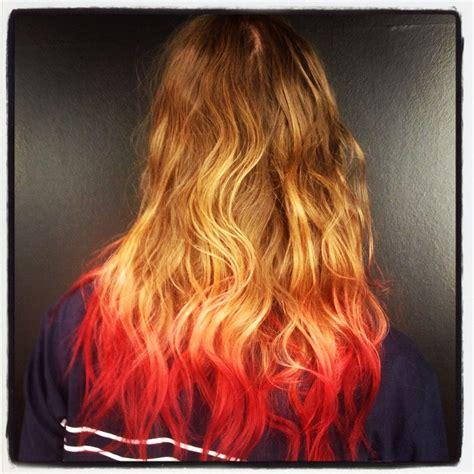 Brown Blonde Pink Red Dip Dye Hair Dyed Blonde Hair