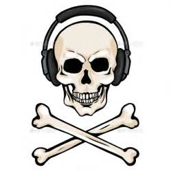 Cartoon Skull with Headphones