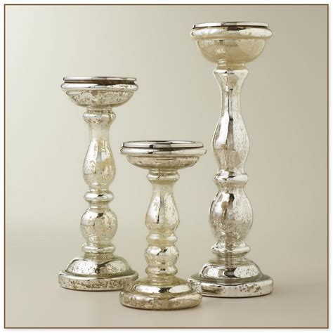 mercury glass candle holders wooden candle holder