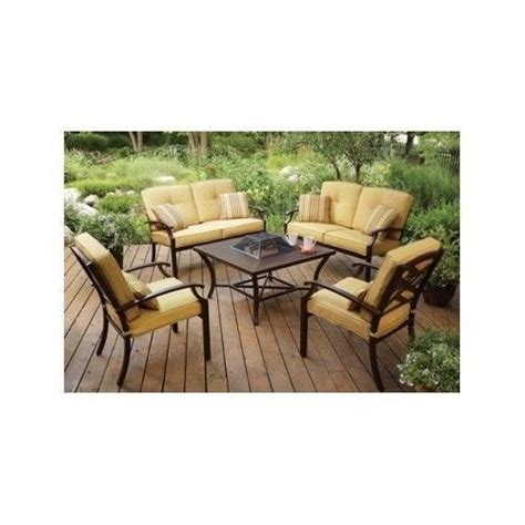 yellow outdoor patio fire pit dining set furniture