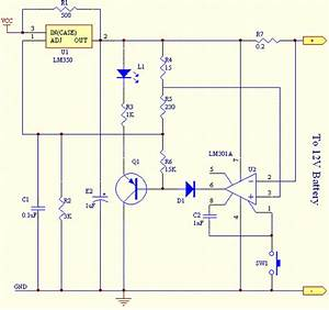 Battery Charger Circuit Using Lm301a  Lm350