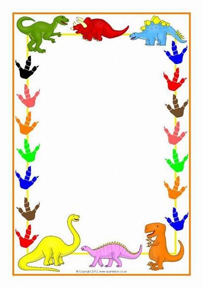 Sparklebox Dinosaur Borders A4 Cartoon