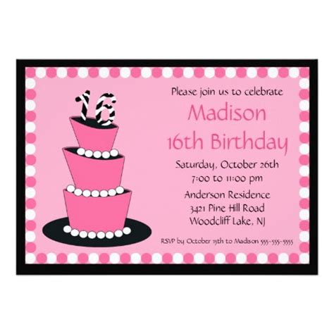 Sweet 16 Birthday Invitations Wording FREE PRINTABLE