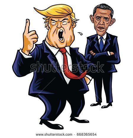 donald trump barack obama cartoon caricature stock vector