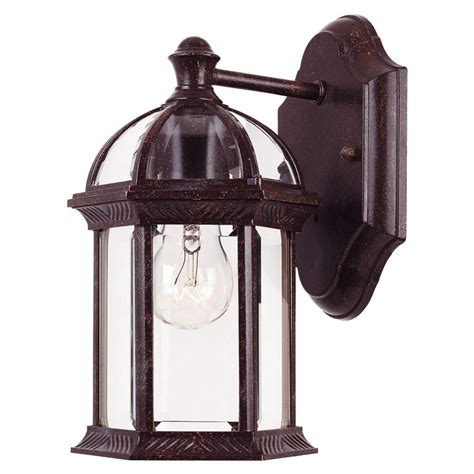rustic outdoor lighting shop 10 5 in h rustic bronze outdoor wall light at lowes