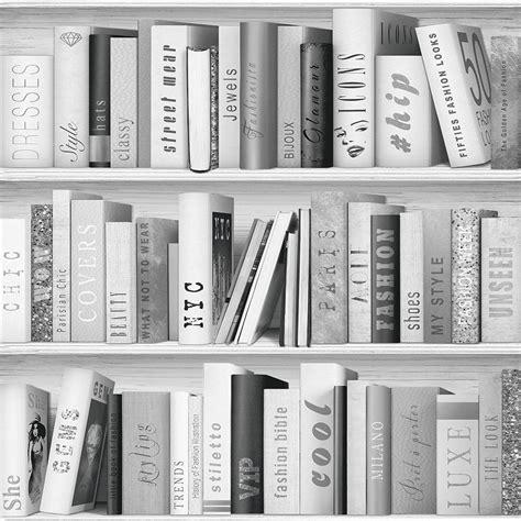 muriva fashion library wallpaper silver