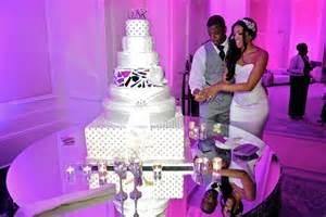 purple chair sashes cake table decor ideas