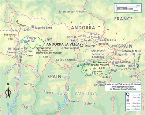 Map of Catalan Pyrenees, Northern Spain, produced by ...
