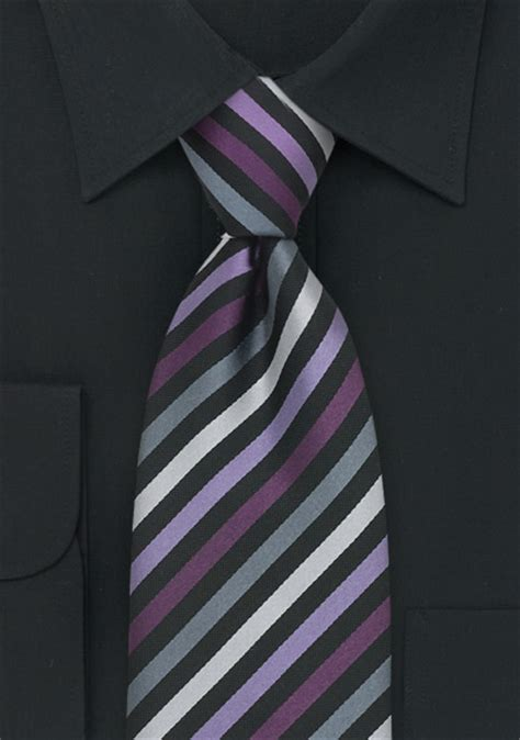 striped mens tie  purple lavender silver  gray