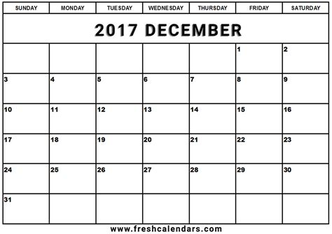 free calendar template 2017 december 2017 calendar printable template with holidays