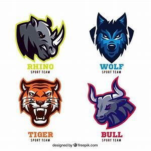 Animal badges for sport teams Vector Free Download