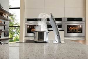 White Pearl island with vent - Modern - Kitchen - new york