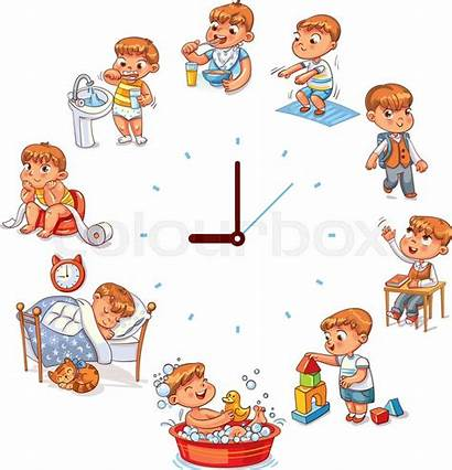 Routine Daily Vector Cartoon Background Funny Boy