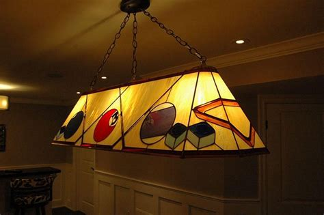 hand crafted custom stained glass pool table lamp  knapp