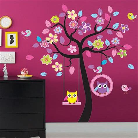wall mural decals nursery large owl swing tree removable vinyl wall sticker for