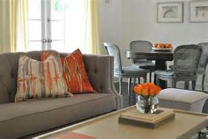Orange Livingroom Gray Sofa With Orange Pillows Contemporary Living Room