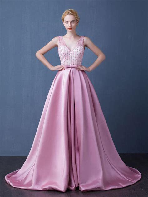 chic   pink prom dress  neck satin beading modest