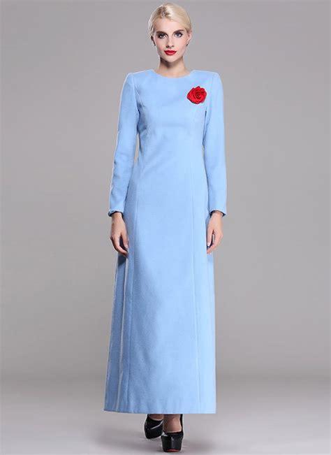 sleeve light blue dress sleeve light blue wool maxi dress rm401