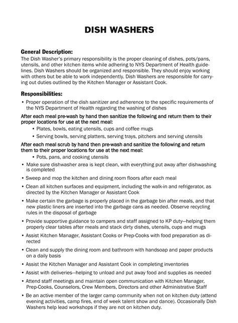 resume description for dishwasher staff packing list c unirondack