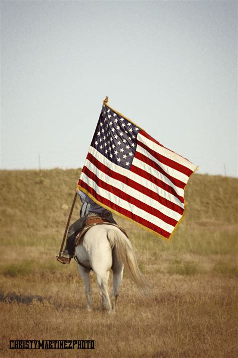 Horse Carrying American Flag