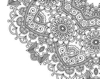flower mandala coloring book  pages printable  blank