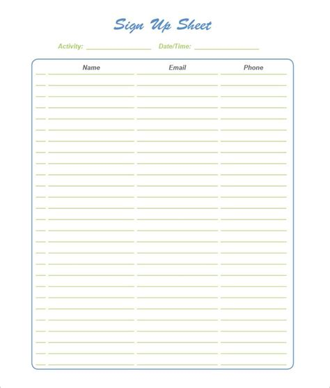 Sign Up Sheet Template Word 21 Sign Up Sheet Templates Free Word Excel Pdf