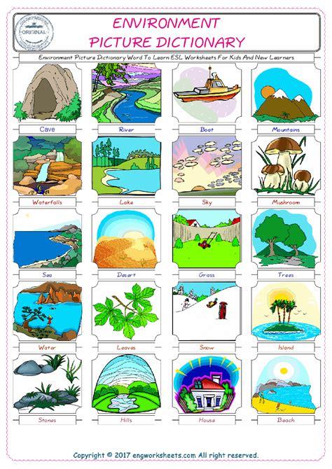 environment esl printable english vocabulary worksheets